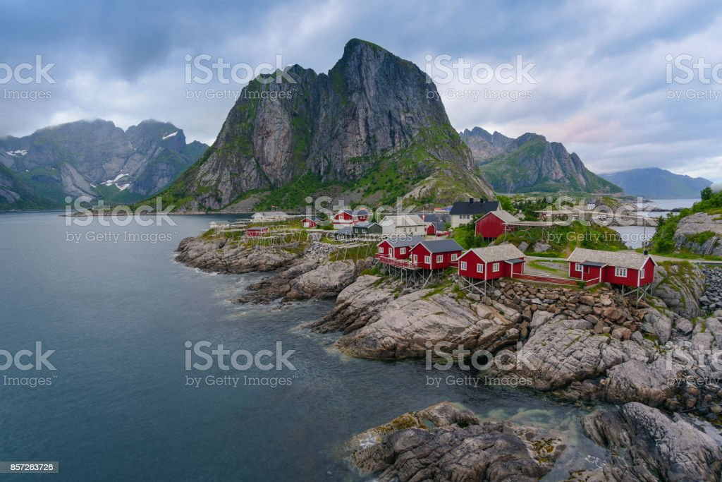 Norway , view of Lofoten Islands in Norway with sunset scenic stock photo