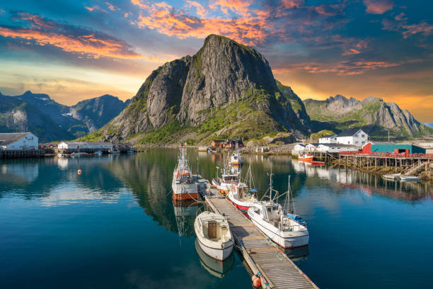 Norway , view of Lofoten Islands in Norway with sunset scenic Norway , view of Lofoten Islands in Norway with sunset scenic lofoten stock pictures, royalty-free photos & images