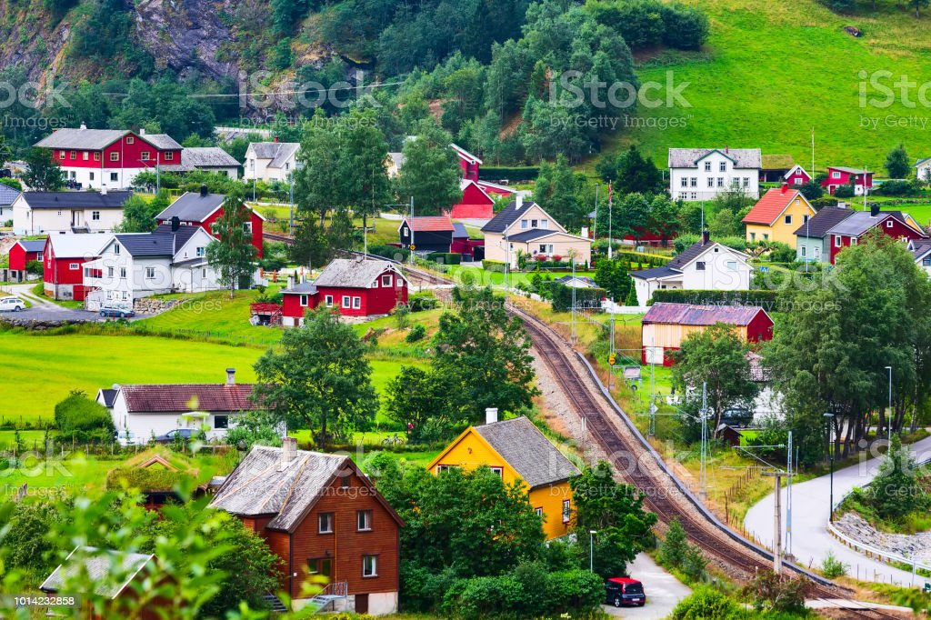 Norway village with colorful house landscape stock photo