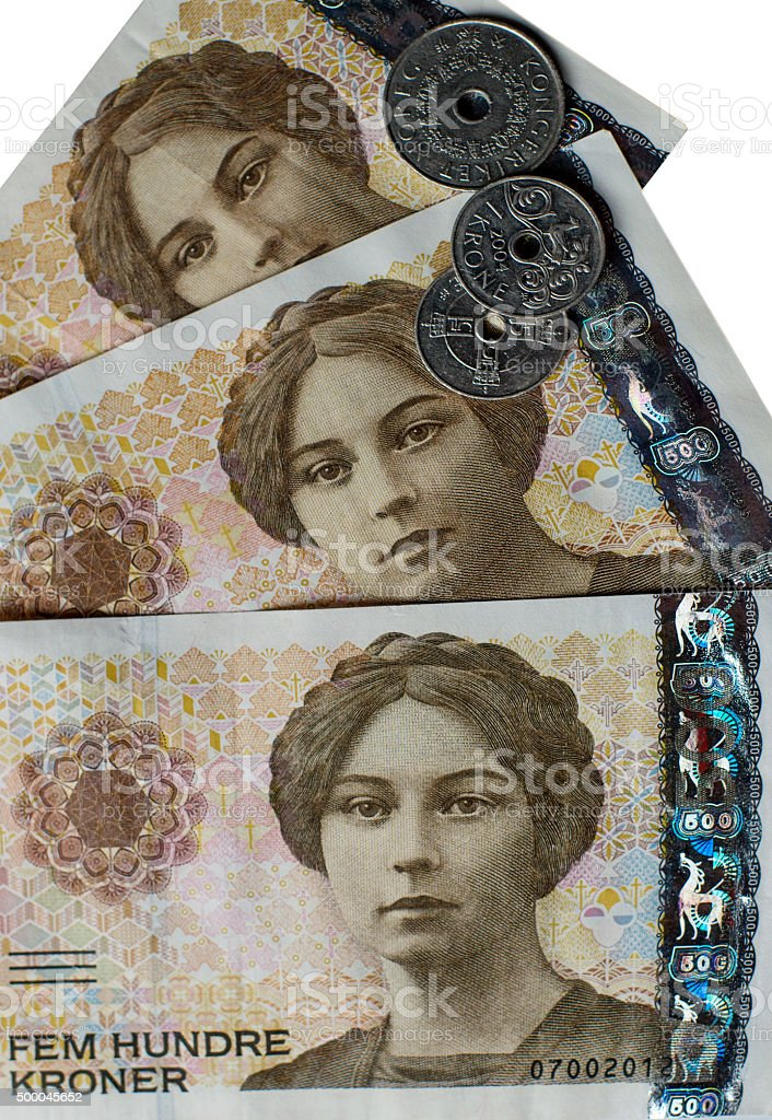 Norwegian 500 crones  banknotes stock photo