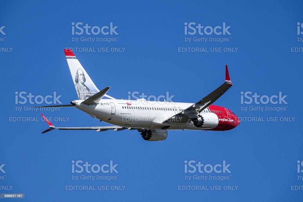 Norwegian Air Shuttle Asa Boeing 737 Max 8 Take Off Stock Photo