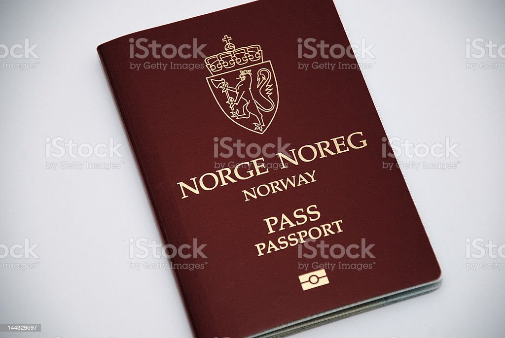Norwegian biometric passport stock photo