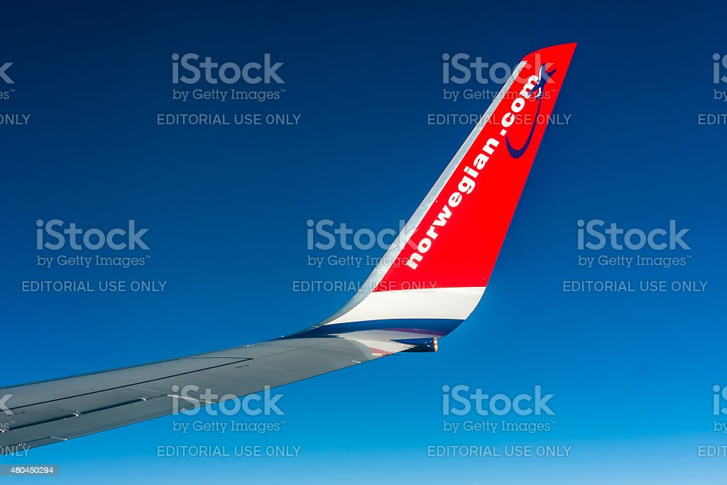 Norwegian Boeing 737 - winglet stock photo