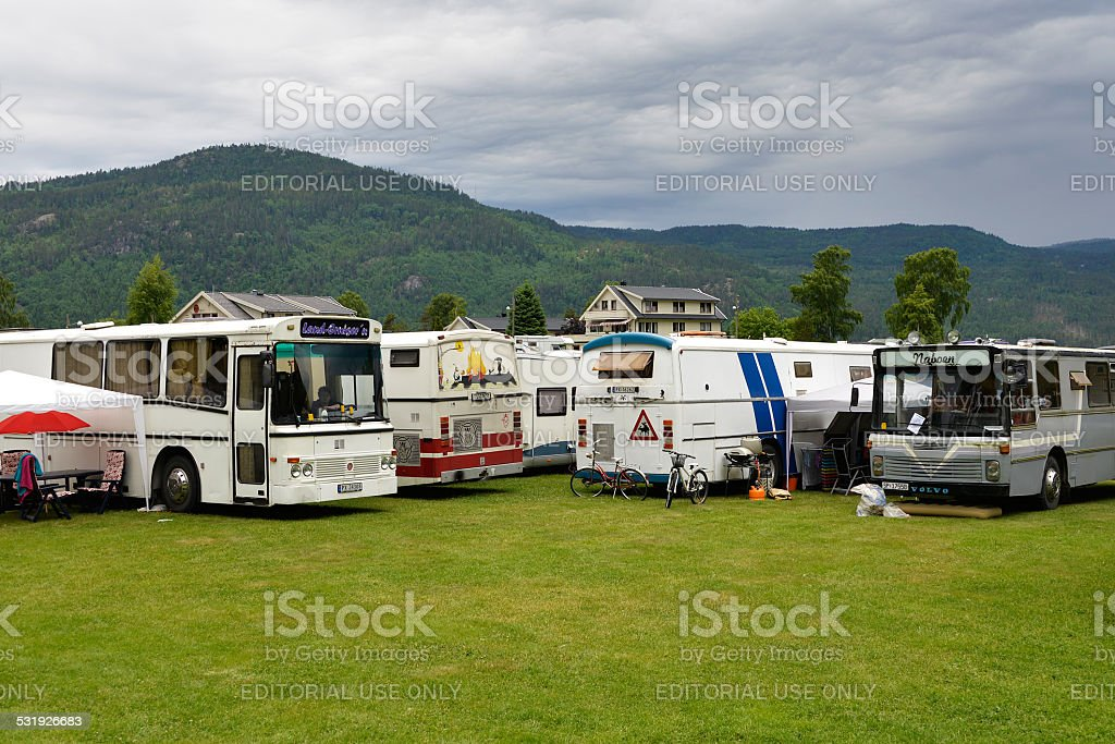 Norwegian camping stock photo