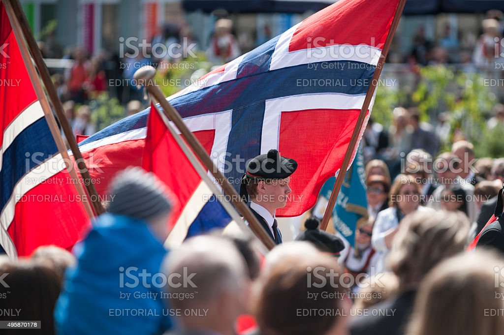 Norwegian Constitution Day (May 17) Celebration Parade in Bergen stock photo
