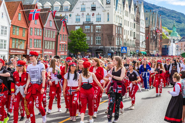 Norwegian Constitution Day. Norwegians at traditional celebration and parade.