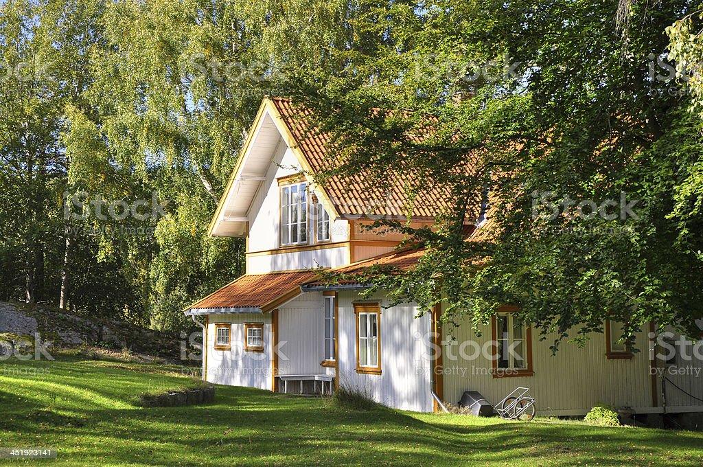 Norwegian country house stock photo