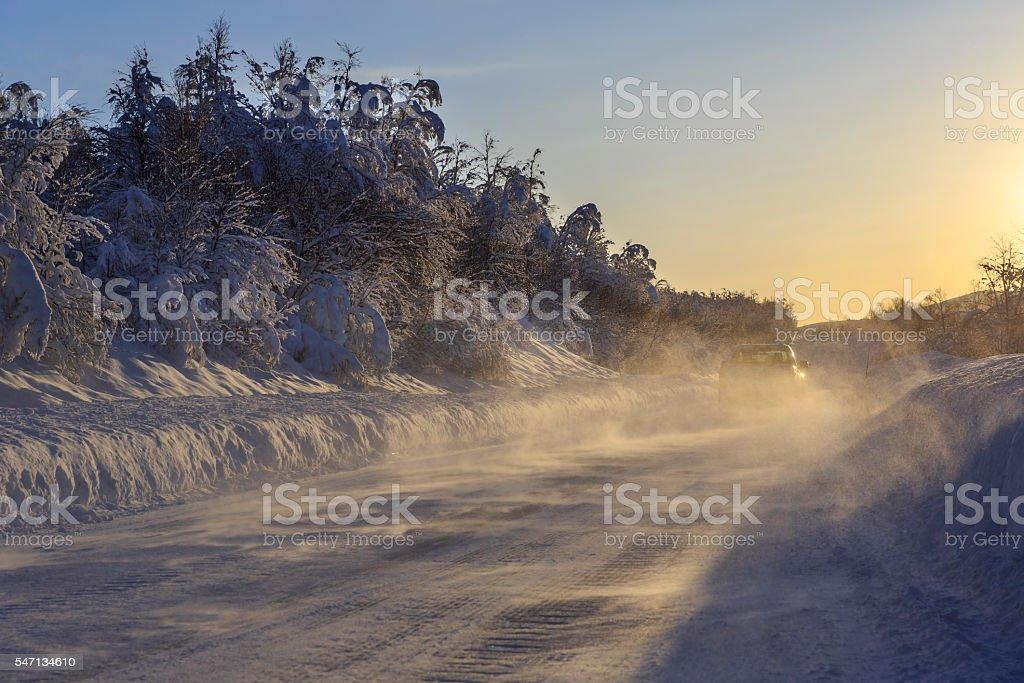Norwegian County Road 86 in winter stock photo