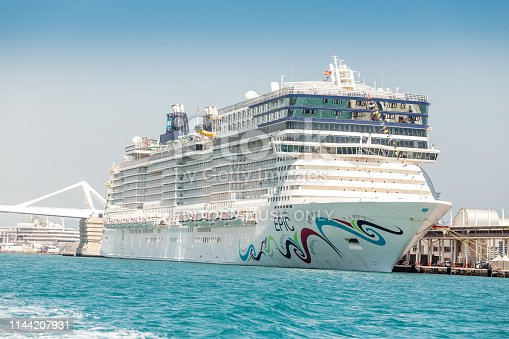 29 JULY 2018, BARCELONA, SPAIN: Norwegian Epic Cruise Ship docked in Barcelona port