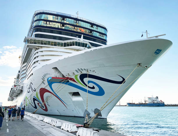 Norwegian Epic ship at dock stock photo