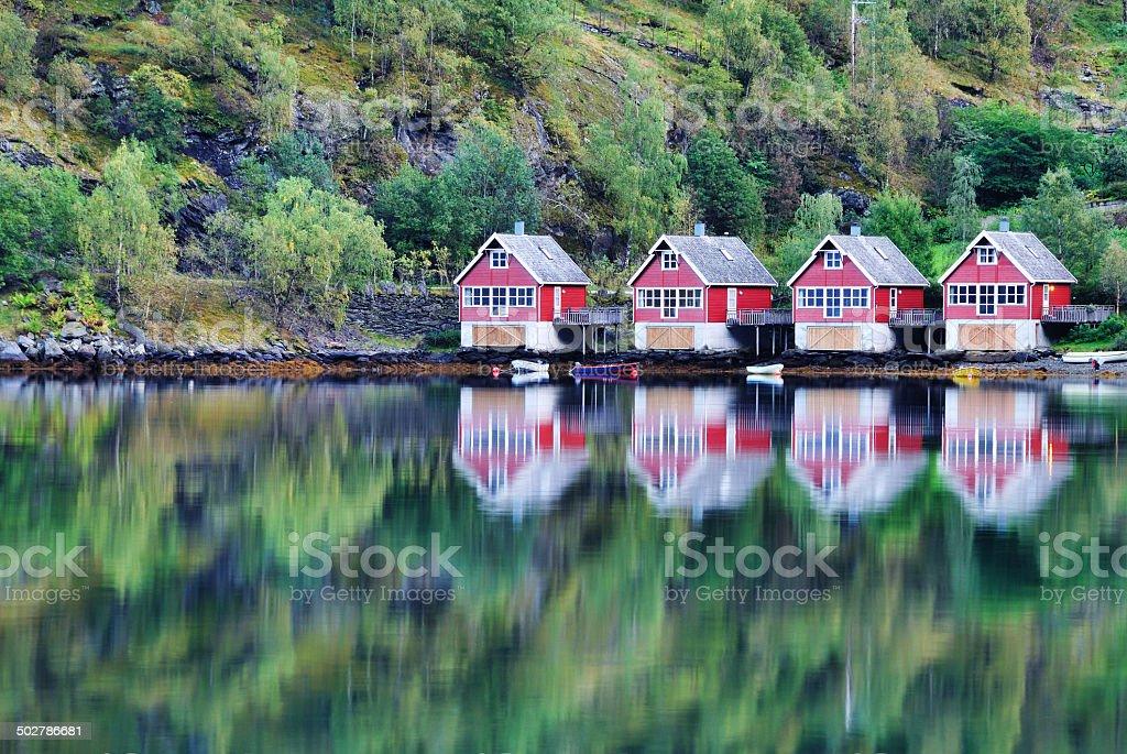Norwegian Fishing huts in Flam stock photo