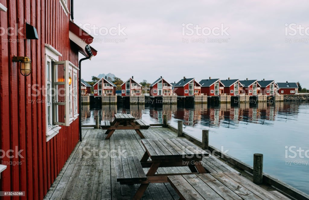 Norwegian fishing village in Lofoten islands stock photo