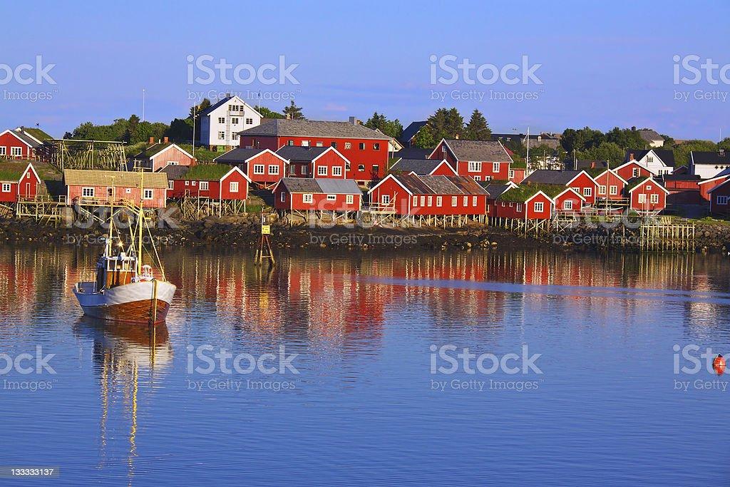Norwegian fishing village royalty-free stock photo