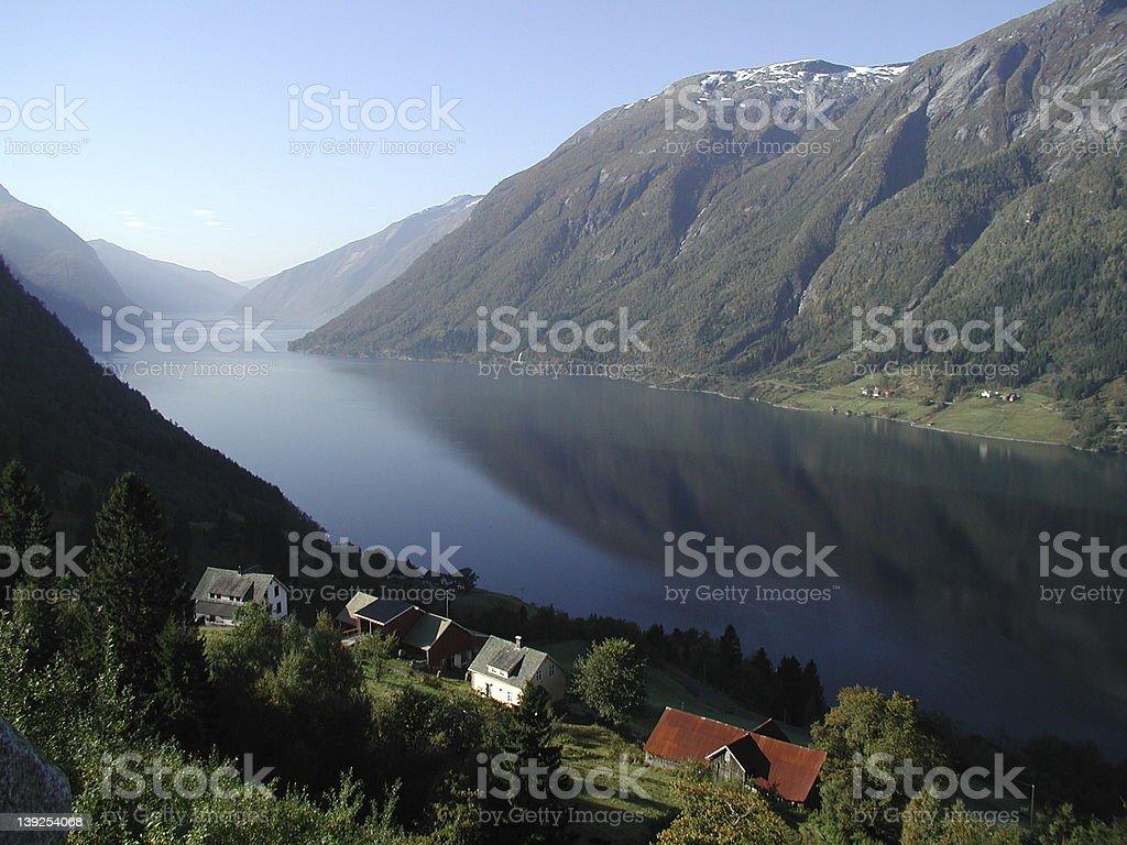 Norwegian fjord and farm royalty-free stock photo