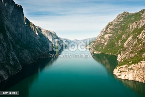 Stock photo of Norwegian fjord and mountains. Kjerag plateau, Lysefjord, Norway.