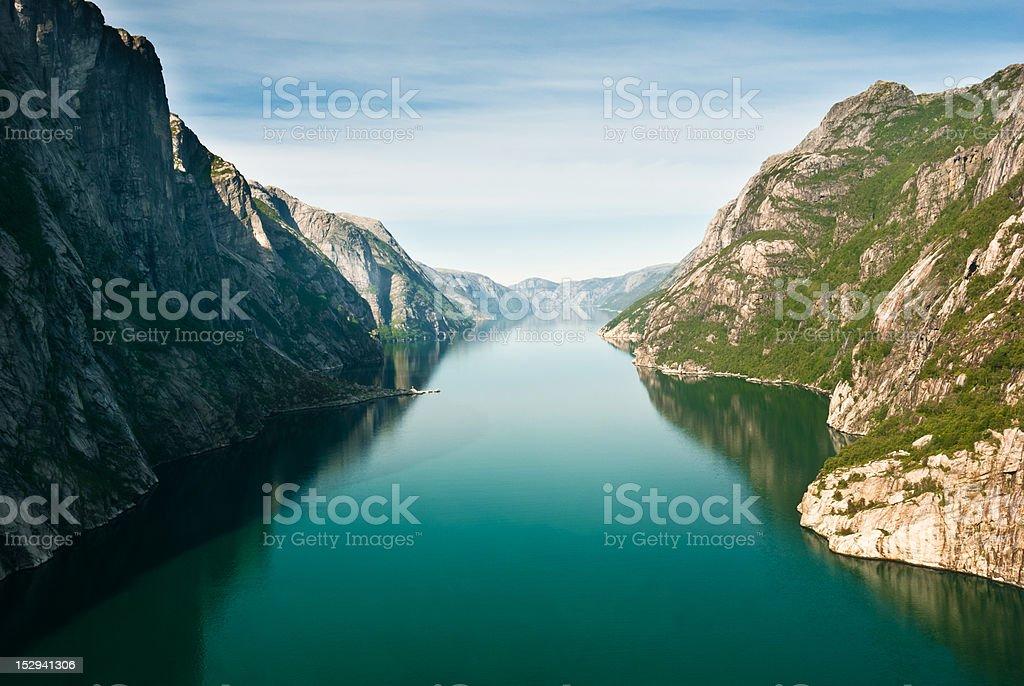 Norwegian fjord and mountains. Kjerag plateau, Lysefjord, Norway. stock photo