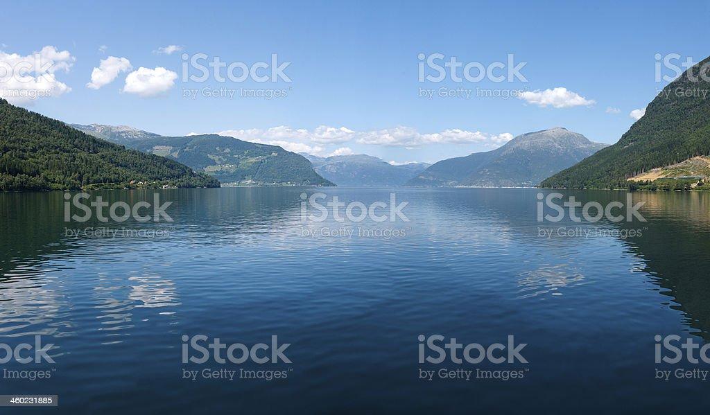 Norwegian fjord and mountains stock photo