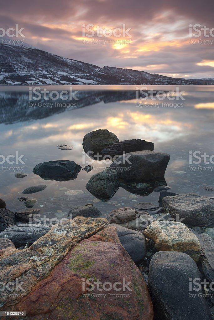 Norwegian Fjord at sunset. royalty-free stock photo