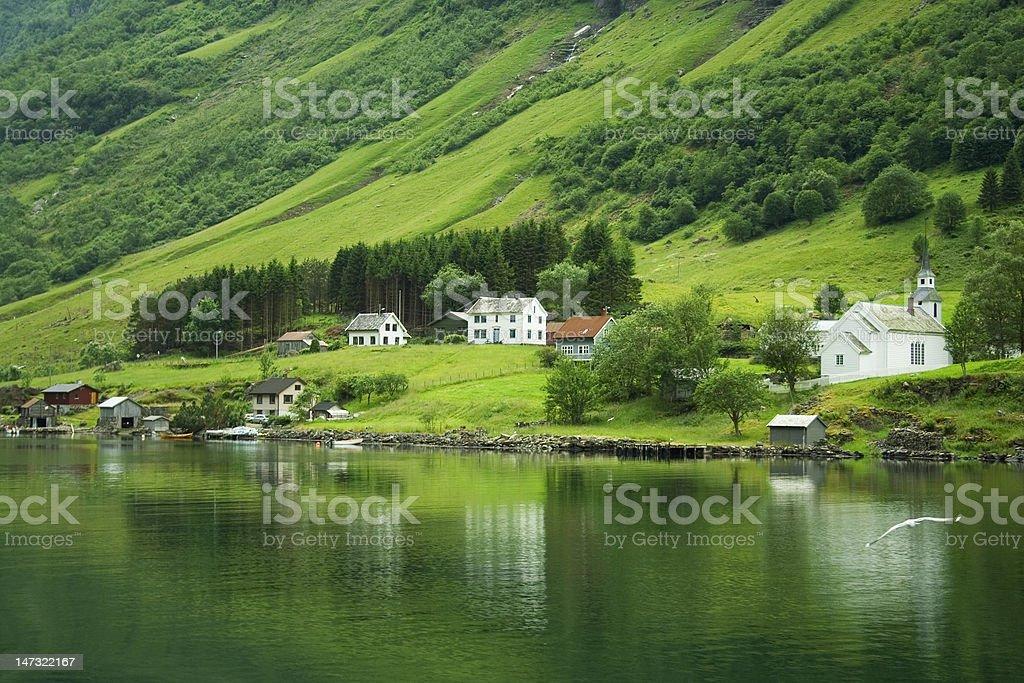 Norwegian fjord landscape stock photo