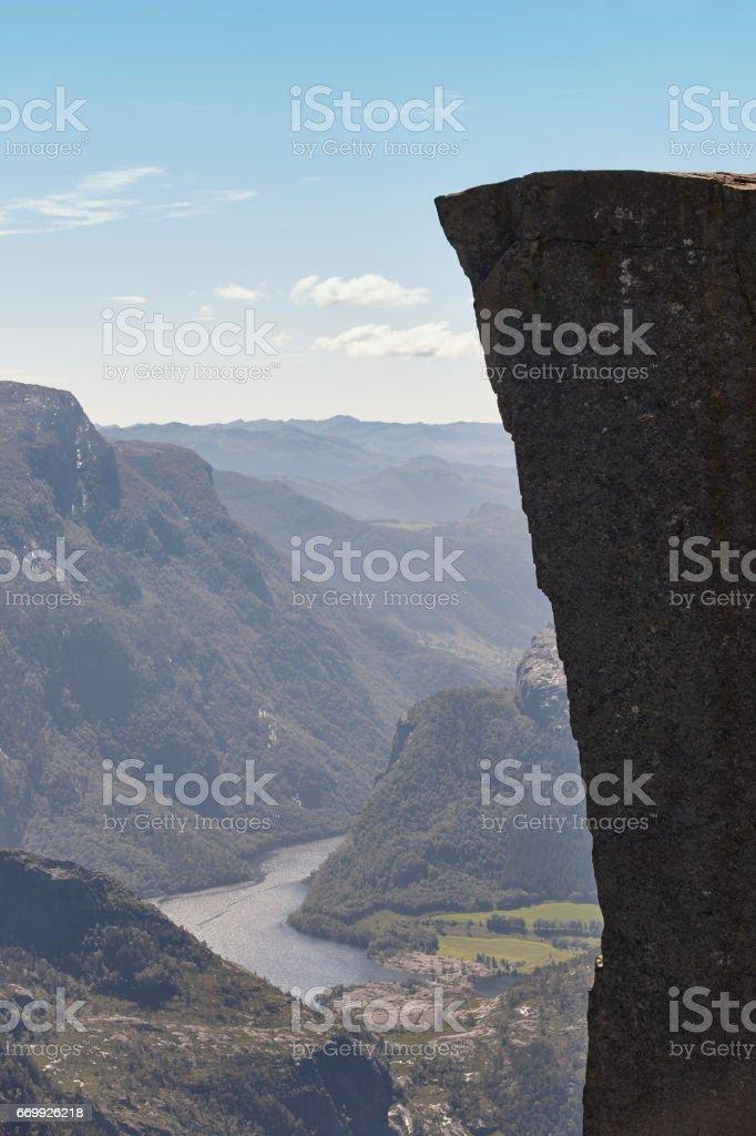 Norwegischer Fjord-Landschaft. Preikestolen Bereich. Norwegen-Wahrzeichen-Landschaft. – Foto