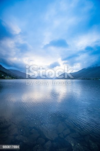 cloudy morning at the Norwegian fjord / lake