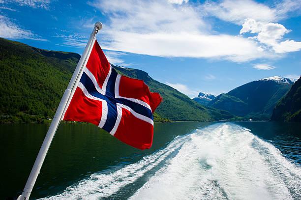 norwegian fjord tours - noorse vlag stockfoto's en -beelden
