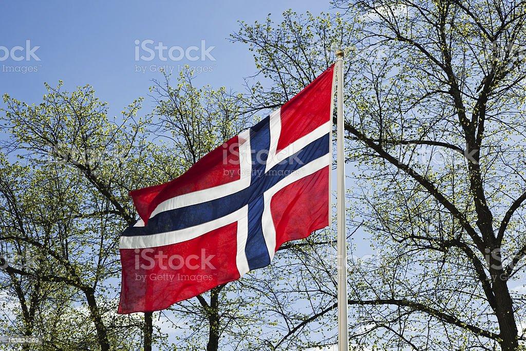 Bandeira da Noruega e céu azul de primavera. - fotografia de stock