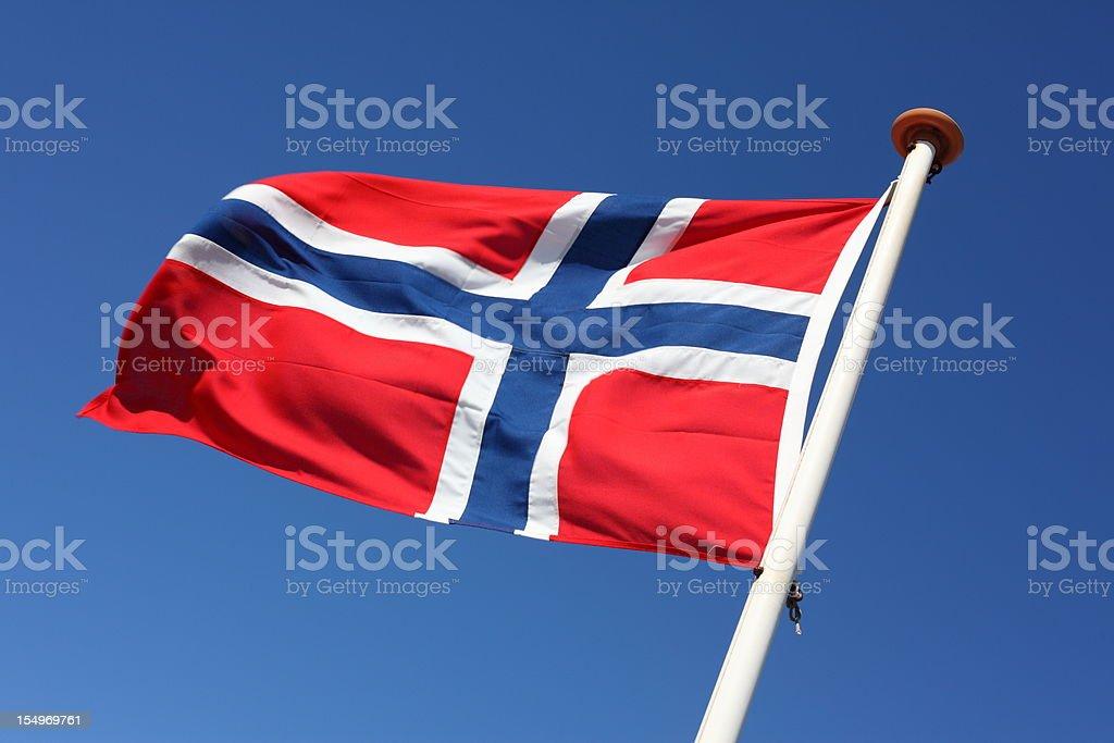 Bandeira da Noruega mandar a balançar ao vento - fotografia de stock