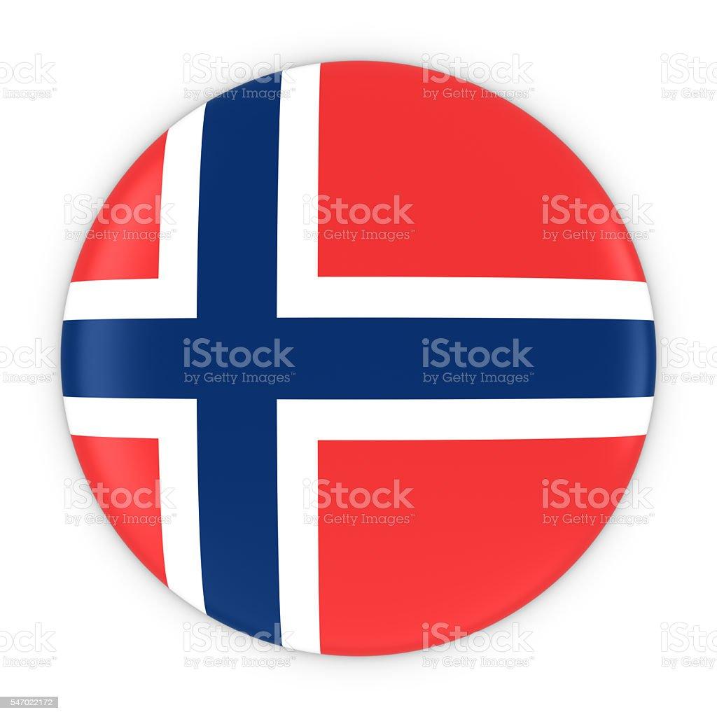 Norwegian Flag Button - Flag of Norway Badge 3D Illustration - fotografia de stock