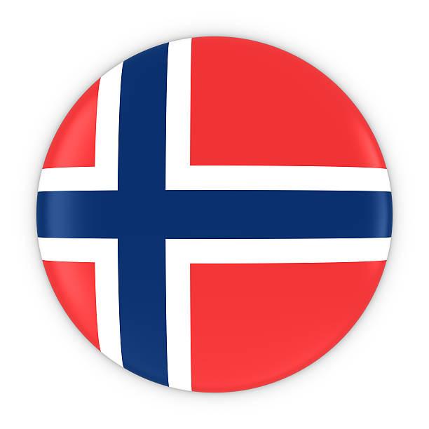 norwegian flag button - flag of norway badge 3d illustration - noorse vlag stockfoto's en -beelden