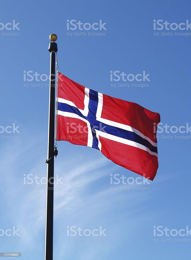 Norwegian Flag on Flagpole royalty-free stock photo