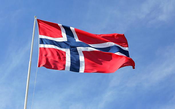 norwegian flag - noorse vlag stockfoto's en -beelden