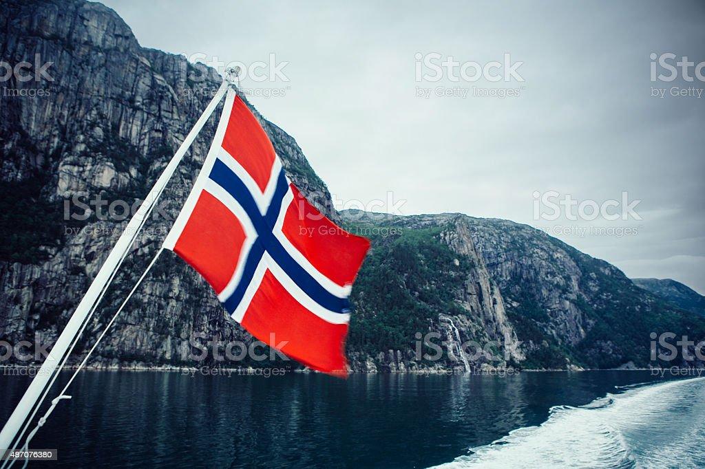 Bandeira da Noruega. - fotografia de stock