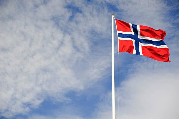 norwegian flag waving on the wind - noorse vlag stockfoto's en -beelden