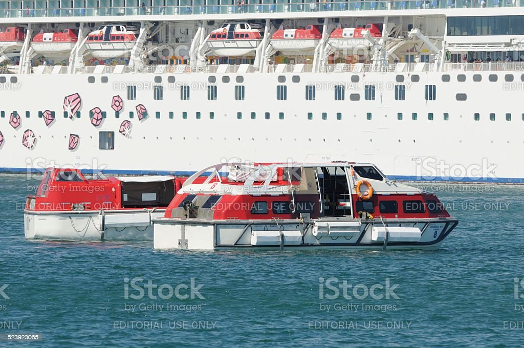 NCL Norwegian Gem Lifeboat Drill stock photo