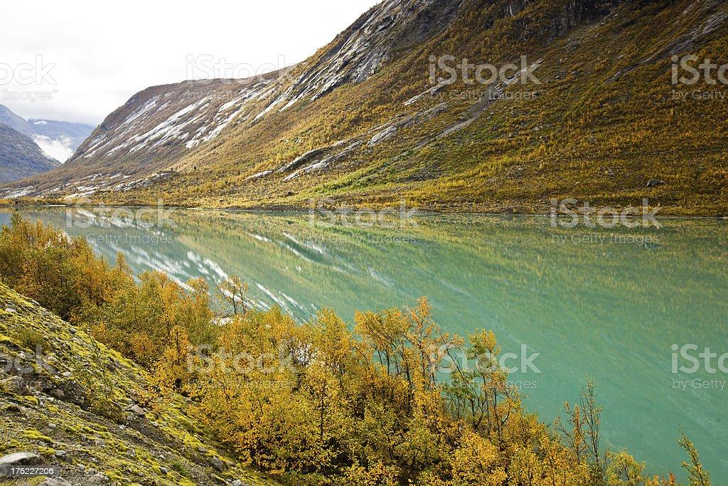 Norwegian glacier lake in autumn royalty-free stock photo