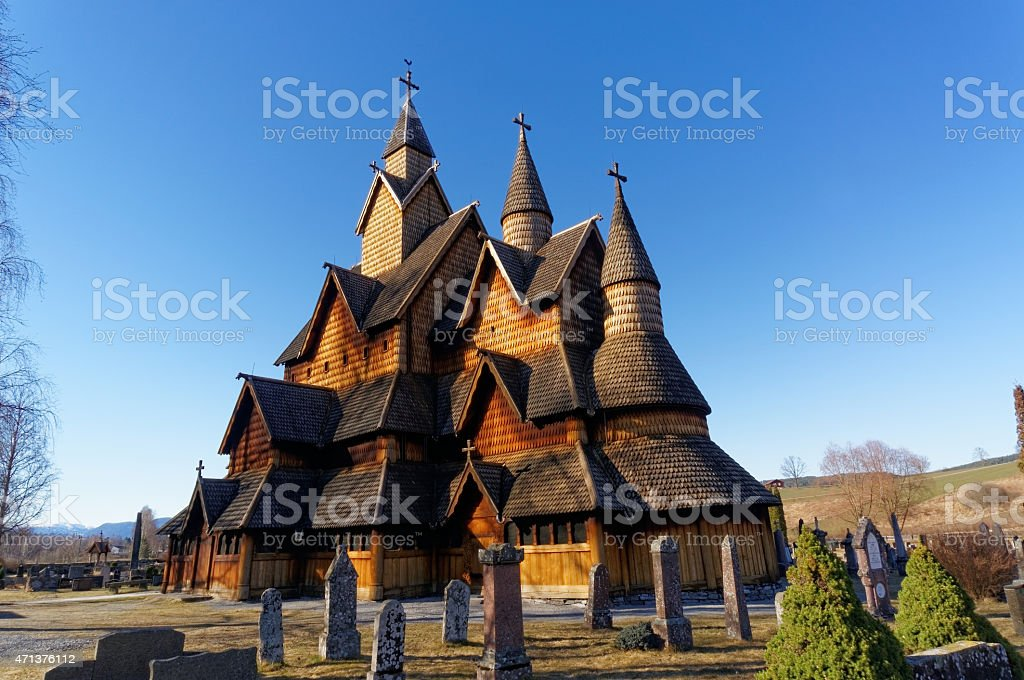 Norwegian Heddal Stave Church stock photo