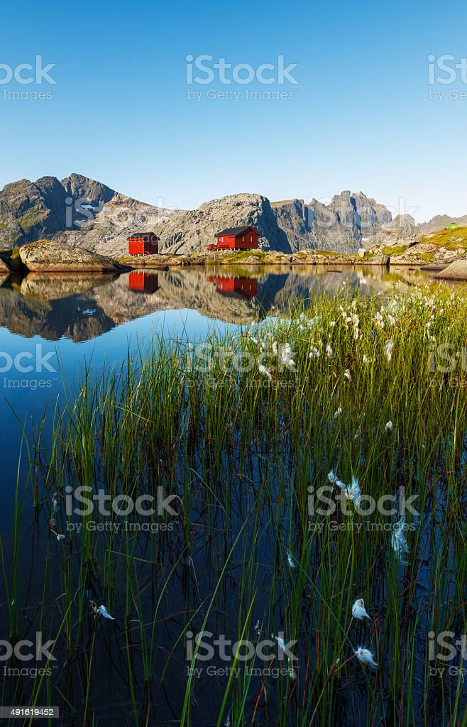Norwegian hut at Munkebu stock photo