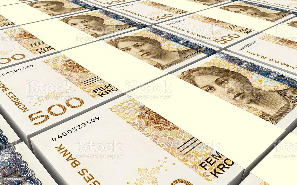 Norwegian krone bills stacks background. stock photo
