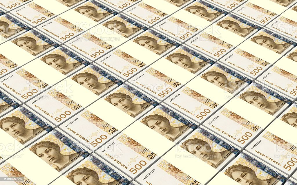 Norwegian krone bills stacks background. stock photo