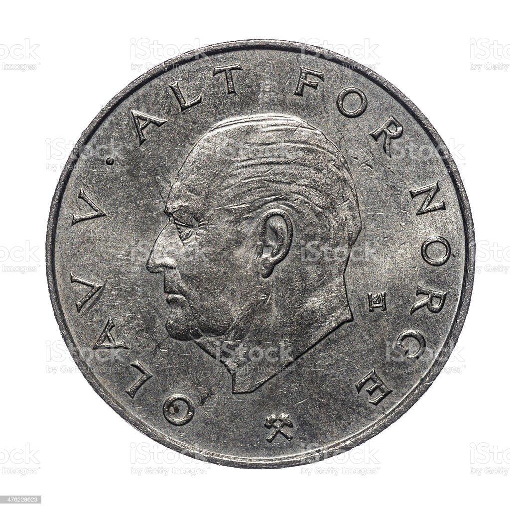 1 Norwegische Kronemünze Isoliert Auf Weiß Stock Fotografie Und Mehr