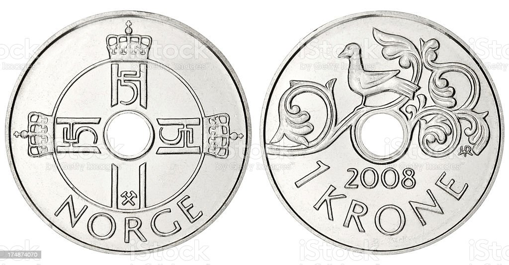 Norwegian Krone On White Background Stock Photo More Pictures Of