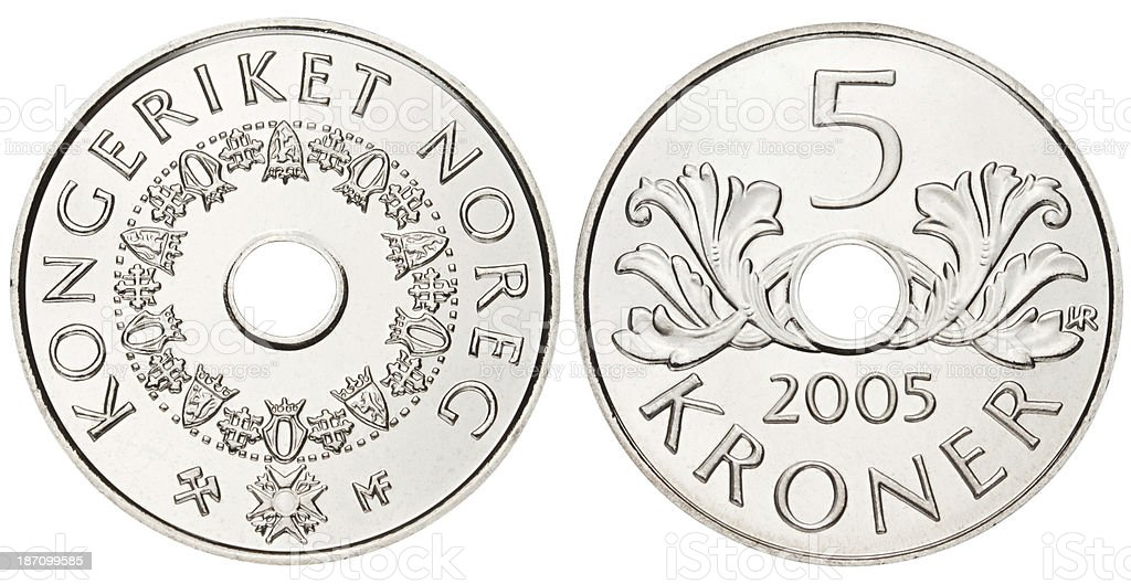 Norwegian Krone on white background stock photo