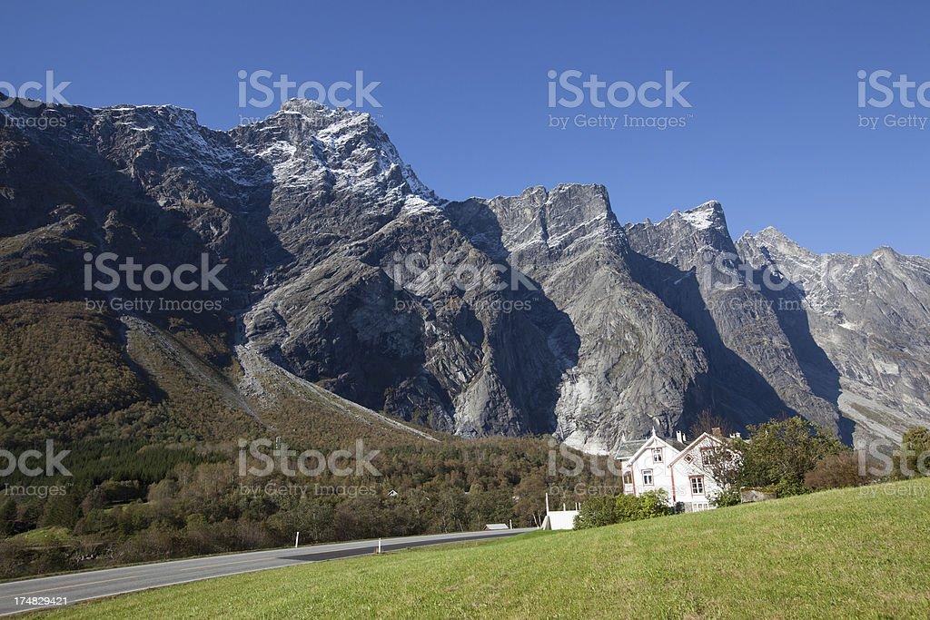 Norwegian landscape in Romsdalen and Trollveggen mountains stock photo