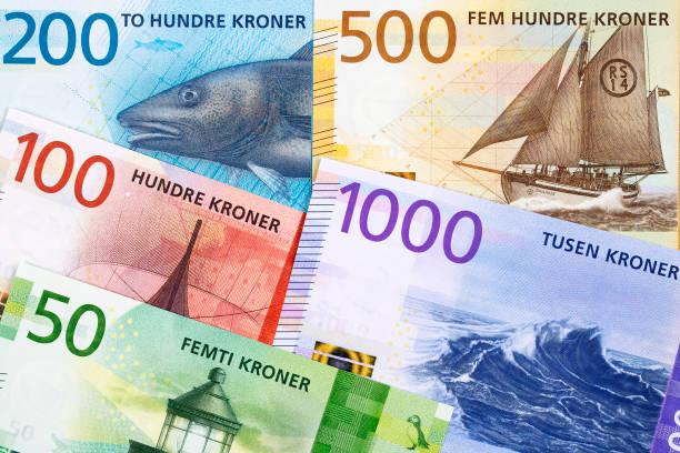 Norwegisches Geld - Krone ein geschäftlicher Hintergrund – Foto