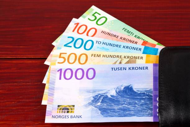 Norwegisches Geld - Krone im schwarzen Portemonnaie – Foto