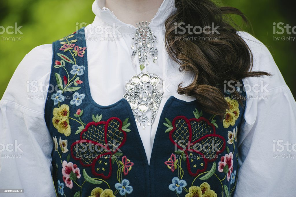 Norwegian national costume/bunad stock photo