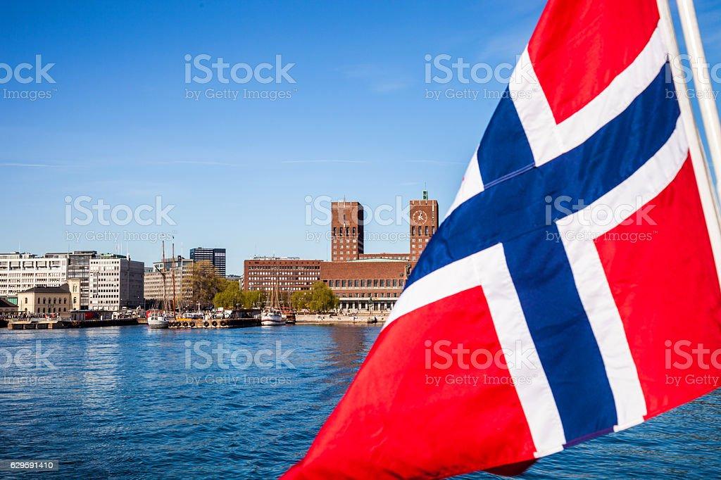 Norwegian national flag close up on a ship - fotografia de stock