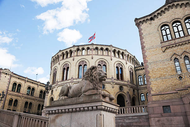 Norwegian parliament bulding. The Lion o in front of the Norwegian Parliament Building. Oslo, Norway. norwegian culture stock pictures, royalty-free photos & images