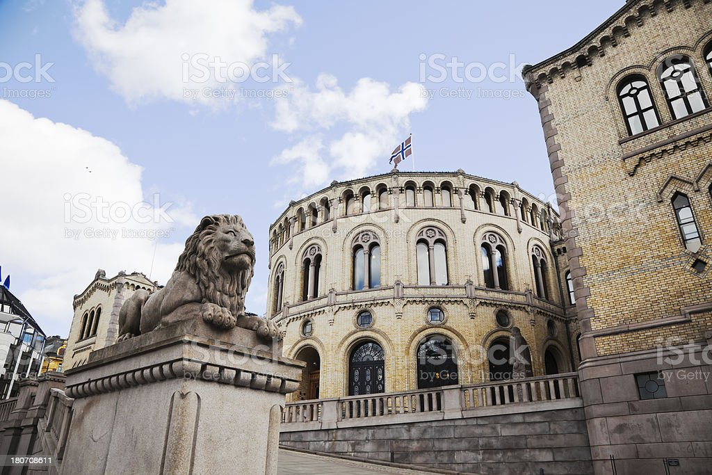 Norwegian parliament bulding. stock photo